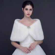 Womens Faux Fur Ivory Cape Bridal Wrap Shrug Shawl Stole Winter Wedding Bolero