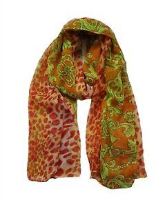 Ladies Women Lightweight Red Animal Print Long Scarf Neck Wrap Shawl
