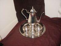 Vintage Silver Coffee / Tea Pot, Tray, Creamer & Sugar Bowl mixed set 12 L