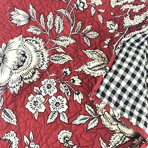 """Quilted Cotton Printed Window Seat Bench Cover Gorgeous Red, Blk Ivory 38"""" X 20"""""""