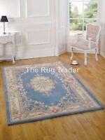 VENTE Chinois Aubusson Bleu Laine tapis en tailles variées demi lune et circle