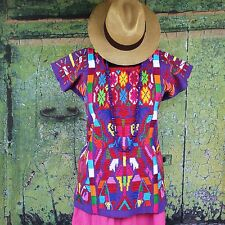 Short Purple & Multi Color Valle Nacionale Hand Woven Huipil Mexico Tree of Life