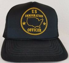 US Immigration Officer Black Men's Vintage Snapback Mesh Ball Cap Trucker Hat.