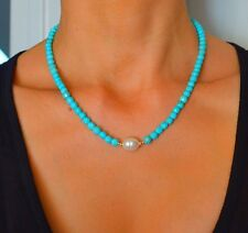 NATURAL Faceted Blue TURQUOISE/South Sea PEARL 14k Yellow Gold Choker NECKLACE