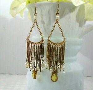 Cookie Lee Freshwater Pearl Gold Tone Chain Chandelier Earrings 75082