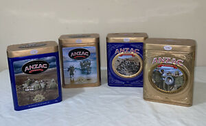 """4 ANZAC BISCUIT TINS Limit Edition Tins """"Commemorating 100 Years"""""""