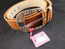 Fabulous Playboy Brown Embossed Belt with Amber and Bunnies Buckle (Small)