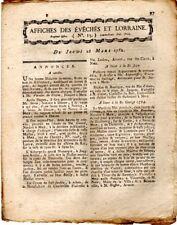1782 Affiches des Evêchés et Lorraine  Vente d 'auberges et la terre de Hombourg