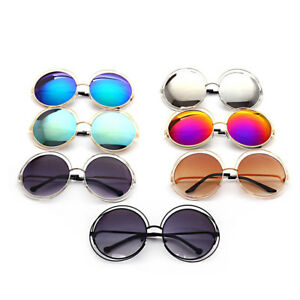 Large Oversized Round Womens Sunglasses Metal Frame UV400