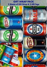 MENS MALE BEER CANS BIRTHDAY CHRISTMAS GIFT WRAPPING PAPER - 2 SHEETS & 2 TAGS