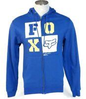 Fox Signature Blue Zip Front Hooded Sweat Jacket Hoodie Men's NWT