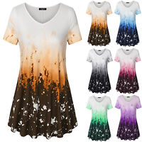 Women Summer Long Tunic Tops V Neck Short Sleeve Floral Shirts  Blouse Plus Size