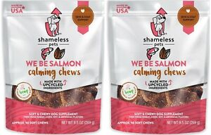 (2 Pack) SHAMELESS PETS We Be Salmon Dog Calming Chews | 9.5 Ounce