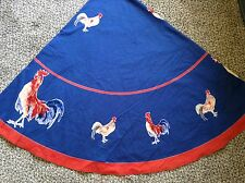 "Williams Sonoma Tablecloth Rooster 70"" Round Navy Blue Red French Country Cotton"