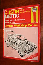 AUSTIN METRO MG ROVER WORKSHOP HAYNES MANUAL