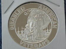 1971 Franklin Mint Disabled American Veterans 50 Years .999 Silver Medal B7553