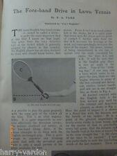 Rare Vieux EDWARDIAN antique illustré article will drive lawn tennis 1906