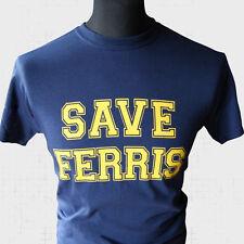 Save Ferris Rétro Film T Shirt Vintage Buellers Day Off Années 80 Bleu Froid