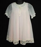 Vintage Vanity Fair Sears Size M Pink Babydoll Nightgown Sheer Lace Robe Boudoir