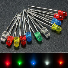 100Pcs 3mm Round Top LED Diodes Light White Yellow Red Blue Green Assortment DIY