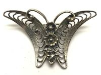 BEAU Vintage Oxidized Sterling Silver Moth Floral Abstract Curved Pin - Brooch