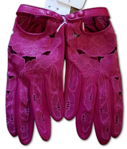 Portolano Leather Gloves Lamb Leather Cashmere Lined Magenta Clover Glove - 7.5