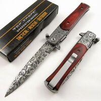 SPRING-ASSIST FOLDING POCKET KNIFE Tac-Force Damascus-Style Stiletto Blade Wood