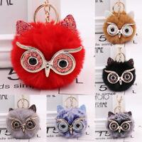 Women Plush Pompom Ball Owl Keychain Keyring Key Ring Chain Handbag Decor 34UK