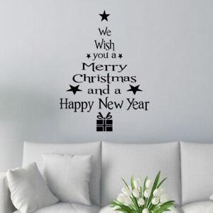 Black Merry Christmas Vinyl Art Window Store Wall Stickers Decal Xmas Decor