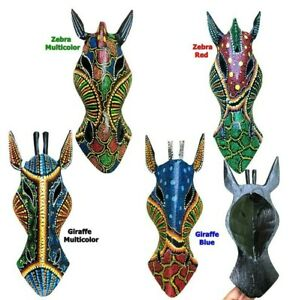 Mask Wall Plaque Decortive Sculpture Wooden Animal Tribal Zebra Giraffe Safari