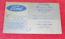1966 1967 1968 Mustang Shelby Fairlane MARV TONKIN FORD MAINTENANCE FOLIO POUCH