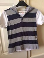 Boys Lee Cooper Blue/Grey Short Sleeve Striped Hooded T-Shirt Age 7-8 Years B14