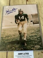 Johnny Lattner Autographed/Signed 8x10 Photo TRISTAR Notre Dame Irish Heisman