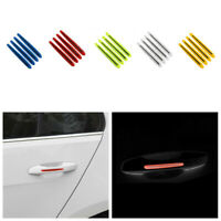 4Pcs Car Door Handle Anti-Collision Strip Reflective Stickers Warning Decal Trim