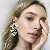 Fashion Gold Hollow Butterfly Dangle Stud Earrings Women Large Wing Statement