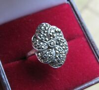 VINTAGE JEWELLERY SOLID SILVER ART DECO MARCASITE COCKTAIL DRESS RING UK SIZE N