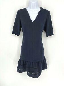 Rebecca Taylor Womens 3/4 sleeve Drop Waist Navy & Black Dress Size 6