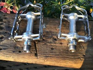 Early Campagnolo Steel 1037 Pedals, 1950's  Short Axle Thread Version