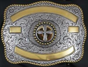 Crumrine Western Rectangle Cross Gold and Silver ribbon belt buckle 3807245