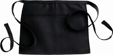 "Fiumara Apparel Reversible Solid Waist Apron with 2 pockets 13"" L x 16"" W Black"