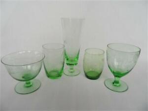 Vintage Retro Mixed Odd Set X 5 etched Green Glass Glasses & Desert Bowl