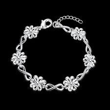 925Sterling Silver Jewelry Daisy Flower 8 Shaped Chain Woman Bracelet HB475