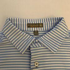 Peter Millar Men's Summer Comfort Blue/White Striped Polo Shirt Medium NWT New