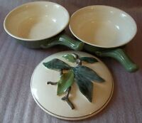 """Lot of 2 Vintage Pottery 8"""" covered Dish"""