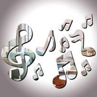 Notes de musique acrylique Miroir 3D Wall Sticker Mural Decal Stickers