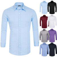 HOT Men's Casual Formal Shirts Long Sleeve Slim Fit Dress Shirts Tops Blouses