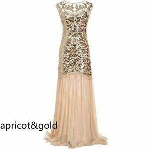 Deluxe Lady Gatsby Dress 1920s Flapper Costume Long Sequin Vintage Party Evening
