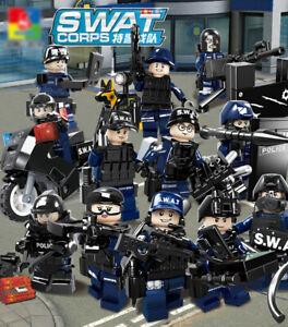 12 Stück SWAT POLICE Military Mini Figuren Waffe Armee Soldat Fit Lego Spielzeug