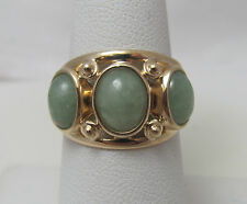 14K Yellow Gold Green Jade 3 Stone Ring Size 7 R9192
