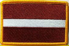 LATVIA Flag Patch With VELCRO® Brand Fastener Military Emblem Gold Border